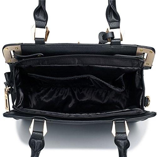 Miss Lulu–Borsa a tracolla pelle look strutturato Lucchetto lt1607 Black/White