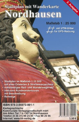 Nordhausen: Stadtplan mit Wanderkarte Maßstab 1:25 000