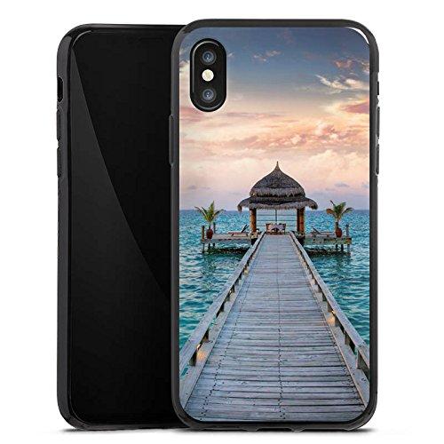 Apple iPhone X Silikon Hülle Case Schutzhülle Steg Urlaub Meer Silikon Case schwarz