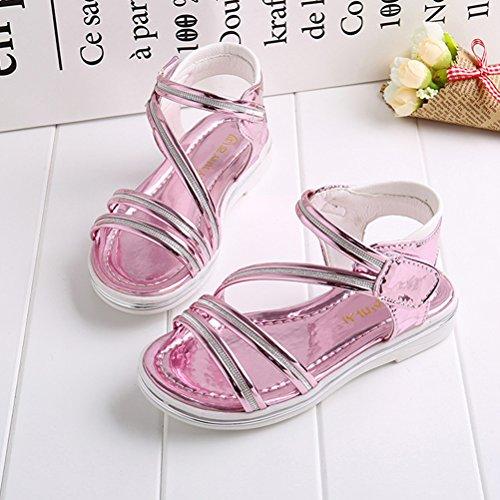 Zhhlaixing 3 Colors Fashion Girls Flat Sandals Summer Kids Non-slip Princess Sandals pink