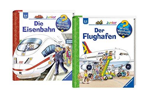 Ravensburger Junior Bücher Set - Wieso? Weshalb? Warum? Der Flughafen und Die Eisenbahn (Hause Lern-spiele Zu Für Kleinkinder)