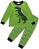 Tkria Jungen Schlafanzug Zweiteiliger Nachtwäsche Baumwolle Lange Kinder Pyjama- Gr. 110(4-5Jahre), Grün