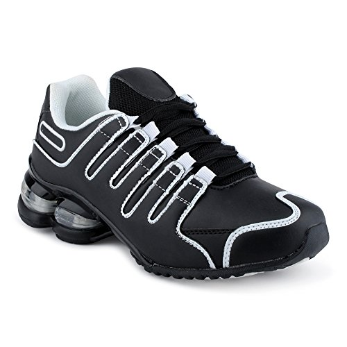 Fusskleidung Herren Damen Sneaker Sportschuhe Lauf Freizeit Neon Runners Fitness Low Unisex Schuhe Schwarz/Weiss-W EU 39 (Schwarz Damen Shox)
