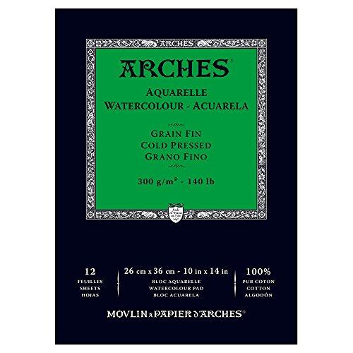 ARCHES 1795093 Aquarellpapier im Block (26 x 36 cm, Kopfgeleimt, 300g/m² Feinkorn) 12 Blatt naturweiß