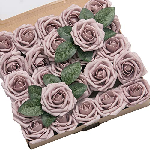 Ling's moment Artificial Flowers 25pcs Real Looking Dusty Rose Fake Roses w/Stem For DIY Wedding Bouquets Centerpieces Bridal Shower Party Home Decorations Diy Bridal Shower