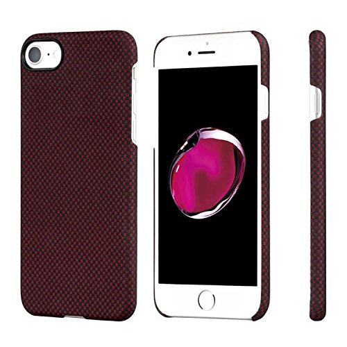 PITAKA Aramid-Minimalistic Premium Case for iphone 8/ 7 (Black/Red Plain) with 3D Grip Pattern, Thinnest (0.65mm), Super slim fit, Lightest (12 gms), Wireless charging friendly and Protective Ring for camera lens (Free premium Tempered Glass Screen Protector of Japan)  available at amazon for Rs.2917