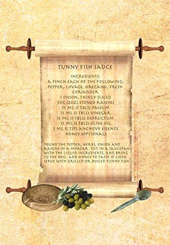 Rotolo antico romano con ricetta Tunny Fish sauce Apicius Stampa su tela in formato A5