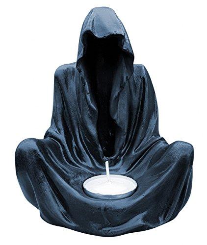 Fachhandel Plus Deko-Figur Geist im Umhang mit Teelicht Gothic Mystik Fantasy Teelichthalter
