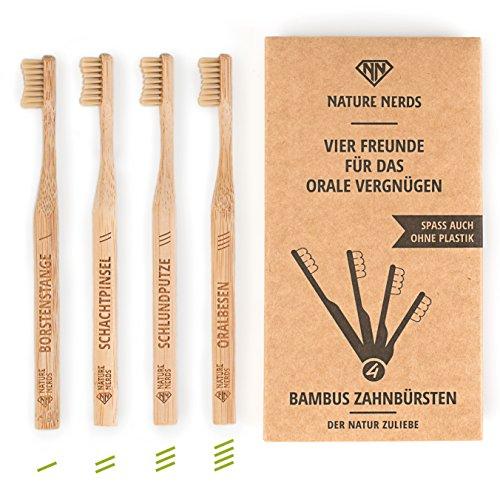 Nature Nerds – Bambus Zahnbürste im Set (4er Pack) ♻ Griff und Verpackung zu 100 % aus nachhaltig angebauten Bambus und zu 100% biologisch abbaubar, 100% Vegan, 100% BPA-frei /// Härtegrad: Mittel, nachhaltige Hand Zahnbürste //// vier Freunde
