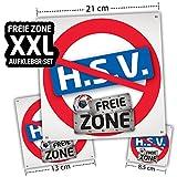 Hamburg FREIE-Zone | XXL-Aufkleber 3er-Set | Schützt Bremen, St.Pauli & Fußball-Fans vor Hamburg infizierten | Einfach mehr Spaß im Alltag | Warnschild - Türschild - Öffnungszeitenschild