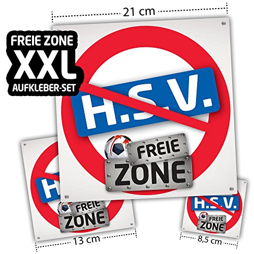 Hamburg FREIE-Zone | XXL-Aufkleber 3er-Set | Schützt Bremen, St.Pauli & Fußball-Fans vor Hamburg infizierten | Einfach mehr Spaß im Alltag | Warnschild - Türschild - Öffnungszeitenschild -