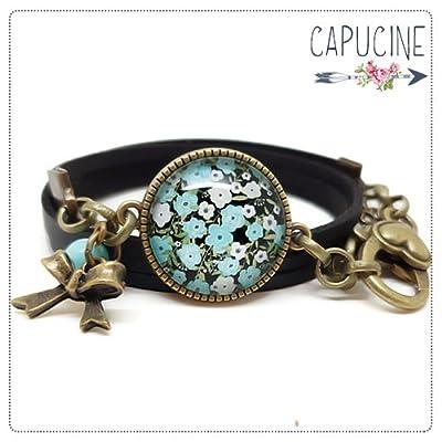 Bracelet 2 tours noir - Bracelet cabochon verre fleurs - Bracelet breloques bronze - Esprit Japon