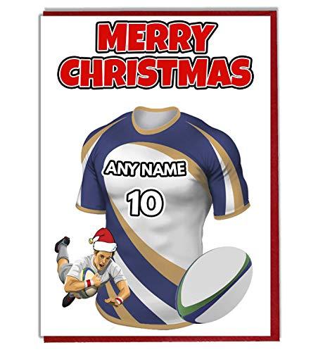 AK Giftshop Personalisierte Weihnachtskarte mit Rugby-Motiv, Team The Brumbies Farben