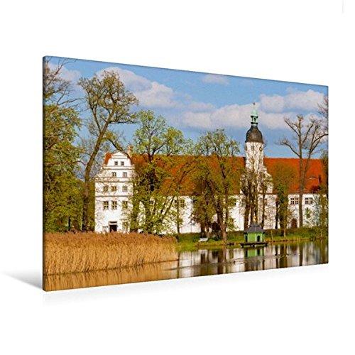 Premium Textil-Leinwand 120 cm x 80 cm quer, Blick über den Inselteich zum Alten Schloss Zabeltitz | Wandbild, Bild auf Keilrahmen, Fertigbild auf im Landkreis Meissen (CALVENDO Orte)