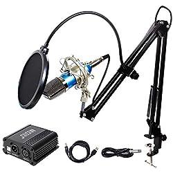 TONOR Microphone à Condensateur XLR à 3,5 mm Podcasting Studio Enregistrement Professionnel Kit Micro avec Alimentation Fantôme 48V et Convertisseur AC EU Bleu