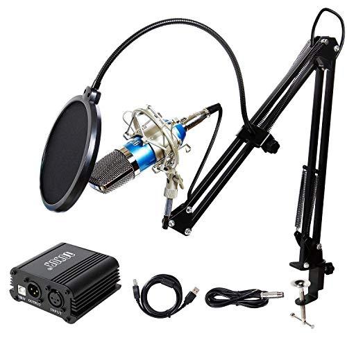 TONOR XLR zu 3.5 mm Kondensator-Mikrofon Kit mit USB Kabel Schall Podcast Studio Rundfunk & Aufnahme Microphone für Computer mit 48V Phantomspeisung Mikrofon Sets Blau
