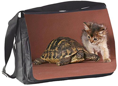 +++ Schildkröte & Katze TIERFREUNDSCHAFT Somali - COLLEGETASCHE Tasche UMHÄNGETASCHE Schultertasche - TIF 06