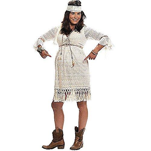 Schwangere Kostüme Frau (Hippiegirl 70ziger Kostüm für Schwangere Umstandsmode Kleid mit Haarband -)