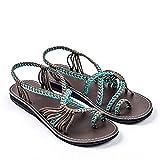 Zapatos Mujer Verano 2019 Sandalias Planas - Talla 34-42 - Casual Bohemia Romanas Chanclas Sandalias de Tejiendo con Cinturón Cruzado para Fiesta Boda Playa de Vestir