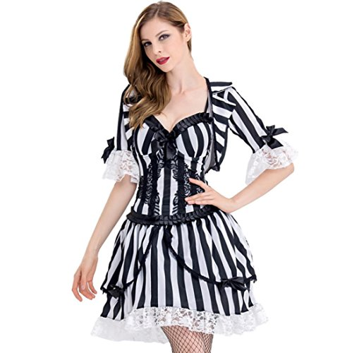 (DuuoZy Frauen Halloween Ghost Devil Kostüm Cosplay Party Anime Kostüm, Black White, l)