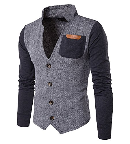 Herren Casual Sakko Slim Fit Freizeit Blazer Casual Männer Business Anzug Jacke Grau L