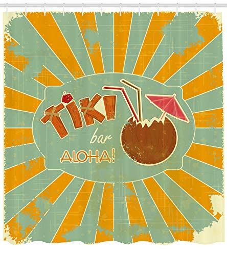 uschvorhang, Aloha Spaß-Party, mit 12 Ringe Set Wasserdicht Stielvoll Modern Farbfest und Schimmel Resistent, 175x200 cm, Mandelgrün Orange Braun ()