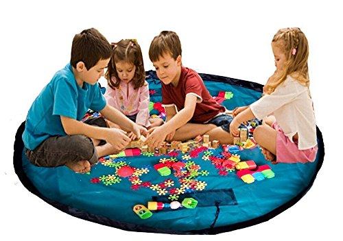 """Agooding bambini 152,40 cm (60"""") diametro Play-Tappeto gioco per bambini, Contenitore Lego Costruzioni, Scatola per giocattoli, 60 inch (Blue Lake)"""
