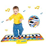 Xndryan Keyboard Music Mat, Kids Floor Piano Mat Keyboard Carpet Dance Mat Kids Early Educational Toy with 8 Music Instrument Pattern, Best Birthday Presents for 3 4 5 6 7 8 Years Old Girls Boys