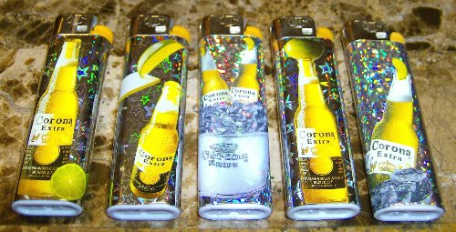 lot-of-5-corona-beer-disposable-lighters-full-set-new