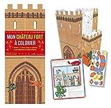 Mon château fort à colorier : Avec 1 livret, 1 livre-frise à colorier et 1 planche d'autocollants