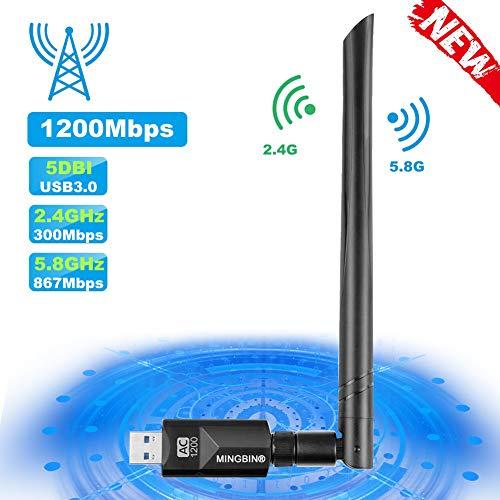 MingBin WiFi Adapter,USB 3.0 WLAN Stick 1200Mbps, WLAN Adapter mit 5dBi Antenne für PC/Desktop/Laptop, WLAN Empfänger Dualband 5G/2.4G, WiFi Dongle für Windows XP/Vista/7/8/10 Mac OS