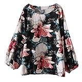 JURTEE Damen Bluse, Große Größen Baumwolle Tops T-Shirt Vintage Boho Floral Lose Oberteile Sommer Bluse(X-Large,Grün)