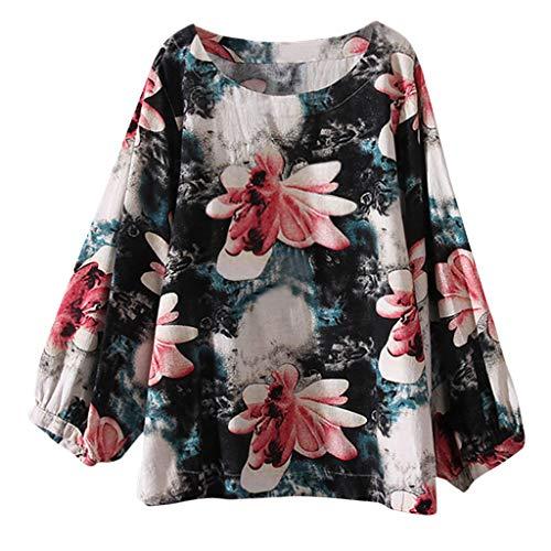 WWricotta Womens Casual Plus Size Cotton Tops Tee T Shirt Vintage Boho Floral Loose Blouse(Grün,XXXXL) -