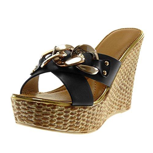 Angkorly Damen Schuhe Mule - Slip-on - Plateauschuhe - Kette - Golden - Gekreuzte Riemen Keilabsatz High Heel 11.5 cm - Schwarz L6132 T 39