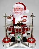 HAAC Weihnachtsmann Santa am Schlagzeug mit Musik und Licht 19 cm x 16,5 cm x 13 cm für Weinacht Weihnachten