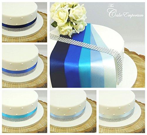 Ruban satiné 1 metre X 35 mm et 4 rangs strass effet Bordure gâteau d'anniversaire et décoration de gâteau de mariage Topper Nuances de bleu