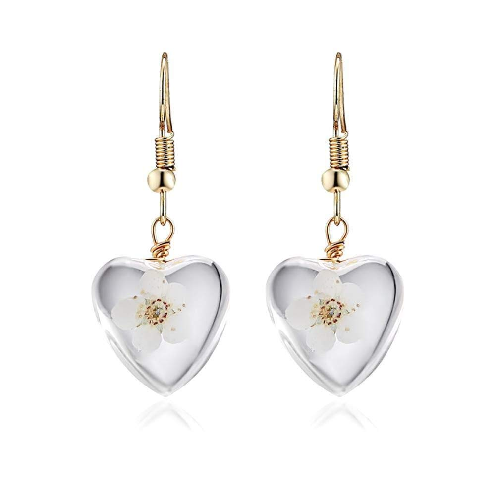 Hoveey Earring Heart Shape Flower Earrings Women Girl Jewelry Gift for Christmas Thanksgiving Birthday(White)