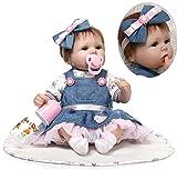 ZIYIUI Handmade Soft Silicone 18 inch Reborn Baby Doll Girl Lifelike Blue Eyes Newborn Girl Toy Doll That Look Real Child\'s Vinyl Birthday Gift