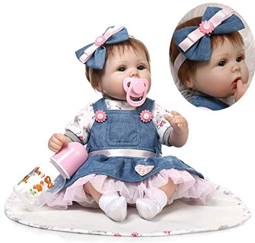ZIYIUI Handmade Soft Silicone 18 inch Reborn Baby Doll Girl Lifelike Blue Eyes Newborn Girl Toy Doll That Look Real Child's Vinyl Birthday Gift