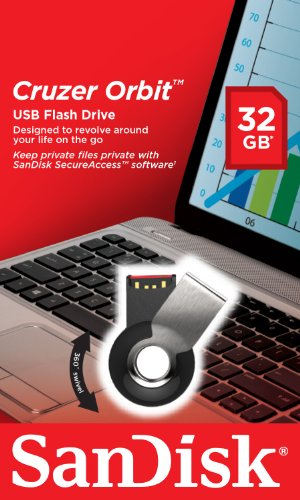 SanDisk Cruzer Orbit Rotating 32GB USB Pen Drive (Black/Chrome)