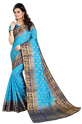 Trendzvila Women's Cotton Silk Banarasi Saree With Blouse Piece (Tr-En-109_Sky Blue)