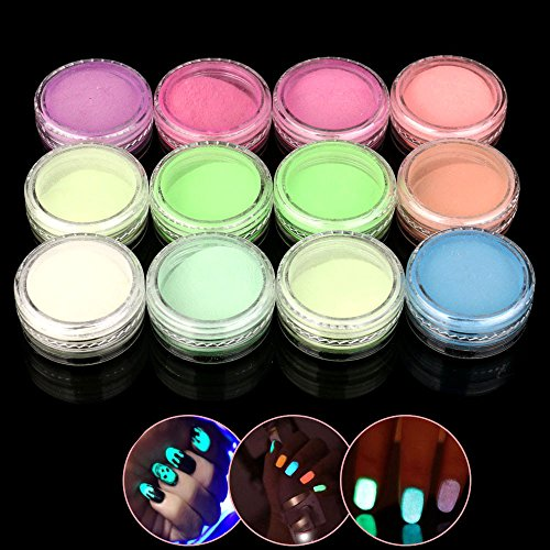 12 Bunte Nail Art Fluoreszierende Powder Nail Dekoration für Glow in Dark Kit 1 Satz Nagel leuchtenden Pulver (Up Kit Dark In Make Glow The)