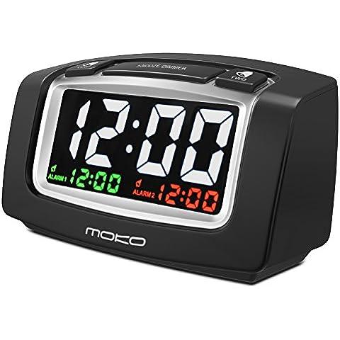 MoKo Despertadores Electrónicos - Reloj con Doble Alarma / LCD Pantalla con 2-Ports USB / Sistema Horario de 12 Horas Alarm Clock Funciona con Baterías,