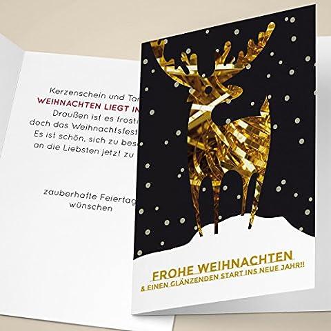 20er Set Edle Unternehmen Weihnachtskarten mit goldigem Hirsch im Schnee, mit ihrem Innentext (Var6) drucken lassen, als Weihnachtsgrüße geschäftlich / Neujahrskarte / Firmen Weihnachtskarte für Kunden, Geschäftspartner, Mitarbeiter: Frohe Weihnachten & einen glänzenden Start ins neue Jahr!!