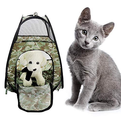 Teepao, tenda per cani e gatti, mimetica, portatile, pieghevole, trasportino per animali domestici, tenda da cortile per cuccioli, gabbia per cani, traspirante, da campeggio, 52 x 36 x 36 cm