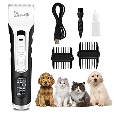 Pecute Dog Clippers 5 Speeds LCD Display,50 DB Ultra-Quiet Pet Grooming Clippers with 4 h Work Time, Cordless Rechargeable Electric Hair Trimmer for Dogs Cats Fur Trimming