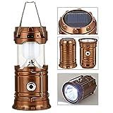 GAXmi LED Camping Laterne Solar Wiederaufladbare Taschenlampe Tragbare Notfall Licht mit USB für Angeln Wandern