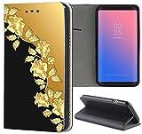 Samsung Galaxy J7 2017 J730 Hülle Premium Smart Einseitig Flipcover Hülle Galaxy J7 2017 Flip Case Handyhülle Samsung J7 2017 Motiv (1368 Rosen Ranke Gold Farben Schwarz)