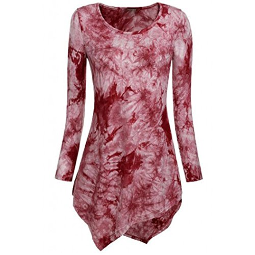 KEERADS Damen Langarmshirt Bluse Oberteile Elegant Oversize Tops Shirt Sweatshirt Frühling Sommer (42(Etikettengröße XL), Rot)