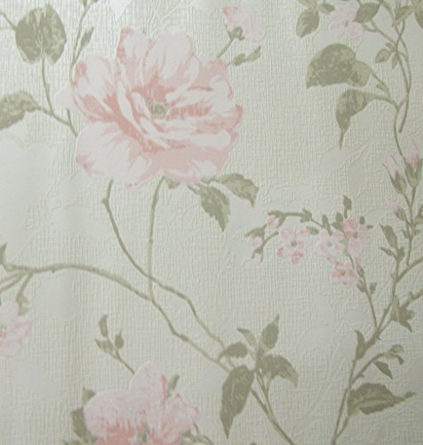 Marshalls Non Woven Floral Wallpaper - 5.3Sqmt (White/Pink/Grey)